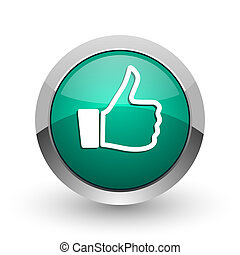 Like silver metallic chrome web design green round internet icon with shadow on white background.