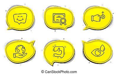 Like, Smile chat and Drag drop icons set. Eye drops sign. Thumb up, Happy face, Move. Check vision. Vector