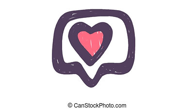 Like social media content symbol in hand drawn style. Animated doodle. Animation 4K. High quality 4k footage
