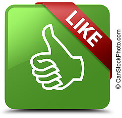 Like soft green square button red ribbon in corner