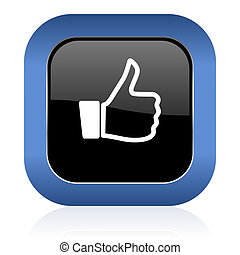 like square glossy icon thumb up sign
