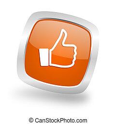 like square orange glossy chrome silver metallic web icon