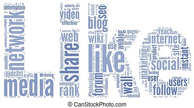 Like as social media concept in tag cloud isolated on white background