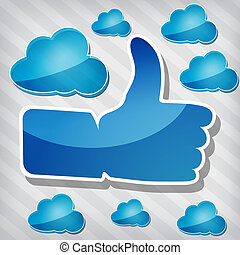 """Like"" symbol with blue clouds"