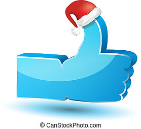 """Like"" symbol with santa hat"