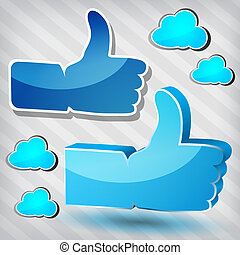 """""""Like"""" symbols with blue clouds"""