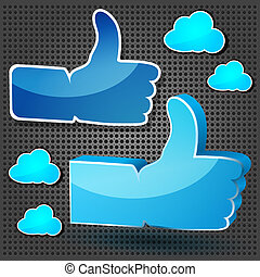 """Like"" symbols with blue clouds on the metallic background"