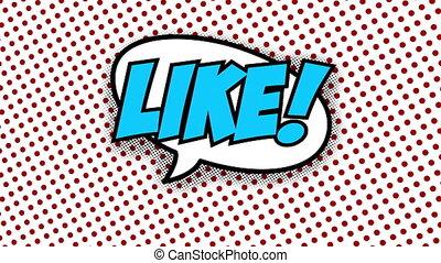 Like text in speech balloon in comic style animation, 4K...