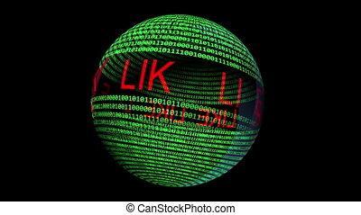 Like text rotating on binary data sphere