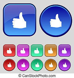 Like, Thumb up icon sign. A set of twelve vintage buttons for your design.