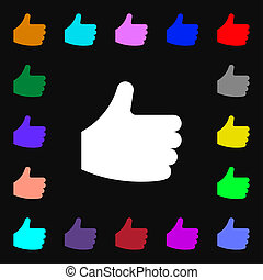 Like, Thumb up icon sign. Lots of colorful symbols for your design.
