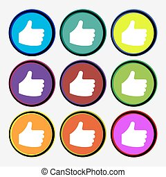 Like, Thumb up icon sign. Nine multi-colored round buttons. Vector