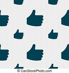 Like, Thumb up icon sign. Seamless pattern with geometric texture. Vector