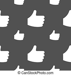 Like, Thumb up icon sign. Seamless pattern on a gray background. Vector