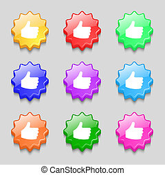 Like, Thumb up icon sign. symbol on nine wavy colourful buttons.