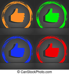 Like, Thumb up icon symbol. Fashionable modern style. In the orange, green, blue, green design.
