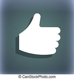 Like, Thumb up icon symbol on the blue-green abstract background with shadow and space for your text.