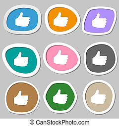 Like, Thumb up icon symbols. Multicolored paper stickers.