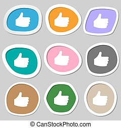 Like, Thumb up  icon symbols. Multicolored paper stickers. Vector