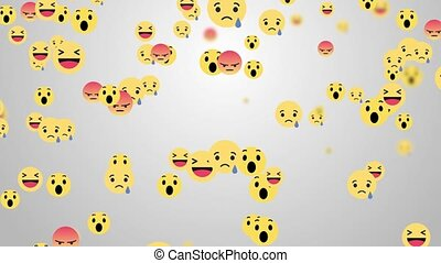 Like, thumb up, icons, wow reaction icon, and hearts on Facebook live video 4K 3D Green Screen Loop Animation. Social media network marketing. Application advertising concept.