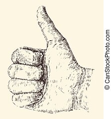 Like Thumb Up Illustration, Hand Drawn, Sketch