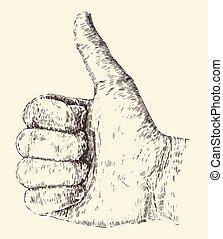 Like Thumb Up Illustration, Hand Drawn, Sketch
