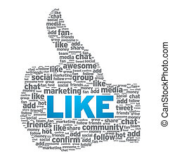Like - Thumb Up - Thumbs up like button on white background.