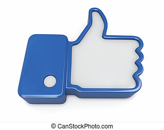 Like. Thumb up sign on white background. 3d