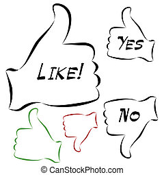 Like Thumbs Set - An image of a elelgant thumbs up and down...