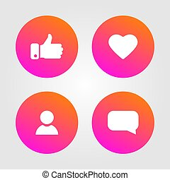 Like, thumbs up and love icons set. Social media elements. Social network icons. Counter notification symbol. Vector illustration