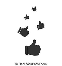 Like, Thumbs Up icon flat - Like, Thumbs Up. Black Icon Flat...