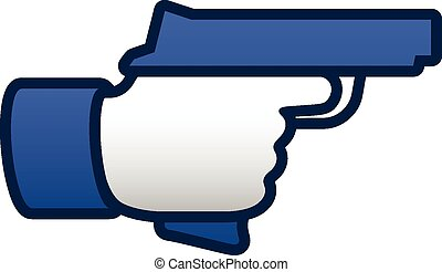 Like thumbs up symbol icon with gun