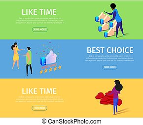 Like Time and Best Choice Horizontal Banner Set