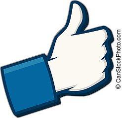Like Us 3D on Social Media Icon - A cartoon illustration of ...