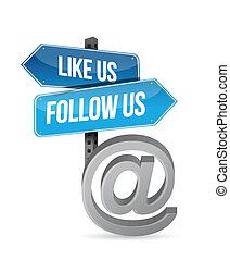 like us and follow us online sign illustration design over ...