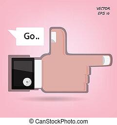 Like us ,hand sign. vector illustration
