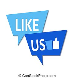 Like us icon on white, stock vector illustration