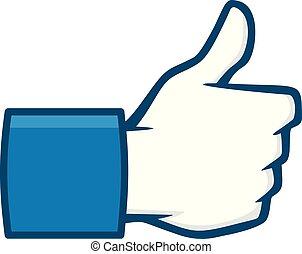 Like Us on Social Media Icon - A cartoon illustration of a ...