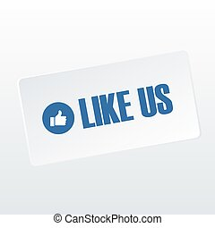 Like us on social media icon and text banner