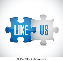 like us puzzle pieces illustration design over a white ...