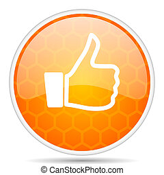 Like web icon. Round orange glossy internet button for webdesign.
