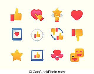 Likes and dislikes - set of flat design style icons