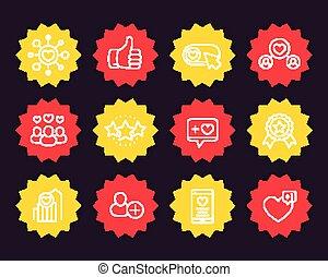 Likes, followers, rating, reputation icons - Likes, thumb up...