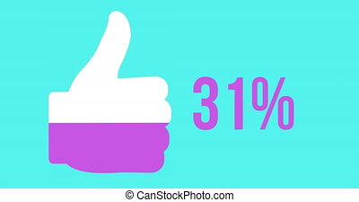 Likes progress with thumbs up shape and increasing percentage 4k