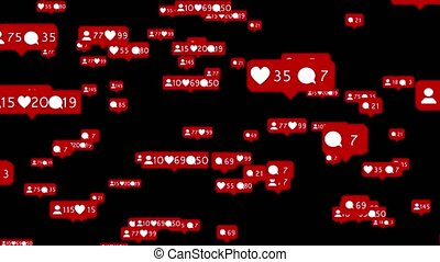 Likes with hearts in flat style for social network computer animation. Black background
