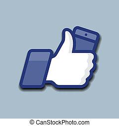 like/thumbs, feláll, jelkép, ikon, noha, mobile telefon