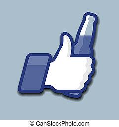 like/thumbs, op, symbool, pictogram, met, bier fles