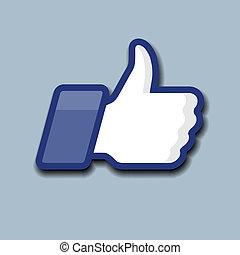 like/thumbs, op, symbool, pictogram, op, een, grijze ,...