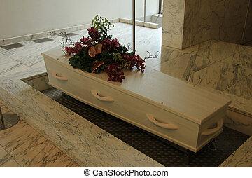 likkista, med, begravning, blomningen