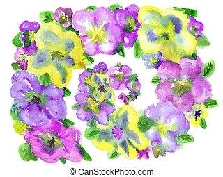 lilás, amarela, aquarela, fundo, flores brancas